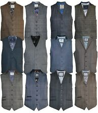 Mens Cavani Tweed Check Peaky Blinders Smart Formal Waistcoat Slim Fit