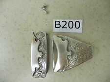 B200 Wholesale Lot of 100 New Western Engraved Silver Tone Belt Tips & Loops