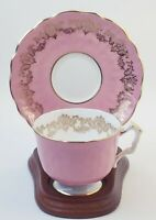 Aynsley England Scalloped Footed Tea Cup & Saucer Set Pink w/Gold Scrolls 1939