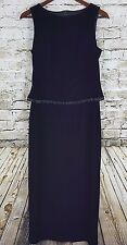 TEDDI Evening Dress Womens Black Velvet Velour Formal Slit Beaded Trim Modest