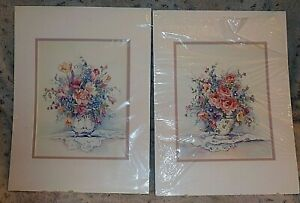 "Pair matted floral bouquets, vases, lace, Barbara Mock, 12"" x 16, Country French"
