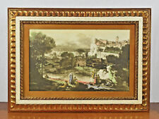 VTG Antique Gold Painted Wood Frame w/ Watercolor Painting - Fits 10 3/4 x 16 in