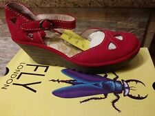 FLY London Yuna Cupido Red Leather Suede Wedge Sandals Size 37, US size 6 - 6.5