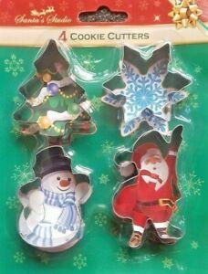 4 Christmas Cutters Xmas SANTA SNOWMAN STAR TREE Mould Mold STAINLESS STEEL BNIB