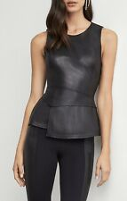 NWT BCBG MAX AZRIA Tori Faux Leather Peplum Top Sz XXS Black