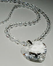 Stylish Clear Crystal Heart Pendant and Necklace