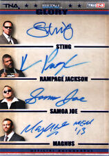TNA Sting Rampage Jackson Samoa Joe 2013 GLORY BLUE Quad Autograph Card SN 1/10