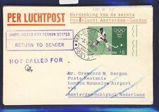 46656) KLM FF Amsterdam - London 5.7.60, Karte ab San Marino, Olympiade