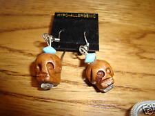 Skull head wooden hand carved earrings  NEW Goth tiki Hawaiian