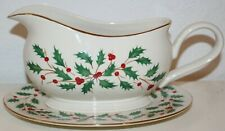 Lenox HOLIDAY Holly Design Gravy Boat with Under Plate