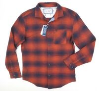 NEW ORIGINAL PENGUIN PICANTE ORANGE NAVY SLIM FIT SIGNATURE PLAID FLANNEL SHIRT
