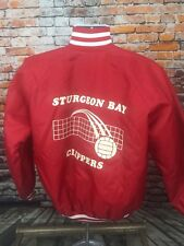 Sturgeon Bay Clippers Wisconsin Volleyball Red Baseball Letterman Jacket M USA