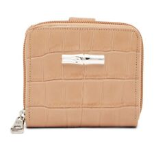 Longchamp Roseau Style Bifold Beige Croco Croc Embossed Leather Wallet MSRP$250
