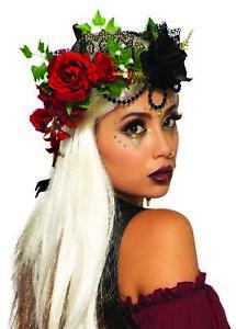 Wahrsagerin Blumenkranz Krone Schwarz/Rot mit Rosen Prinzessin Fantasy Königin