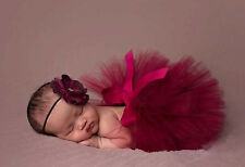 Newborn Baby Girl Bowknot Tutu Skirt + Headband Flower Photography Prop Costume