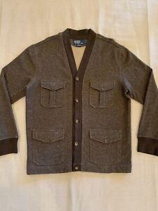 Vintage Polo Ralph Lauren Brown Knit Cargo Pocket Cardigan Mens L Excellent Cond
