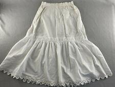 """Vintage Antique Handmade Petticoat Slip White Eyelet Crocheted Hems 26"""" Waist"""