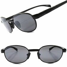 Classic Vintage Retro Old Fashioned Black Mens Stylish Oval Hipster Sunglasses
