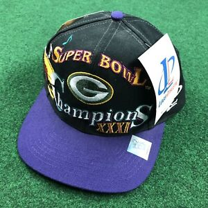 VTG 90S Green Bay Packers Super Bowl XXXI Champions Mardi Gras Snapback Hat