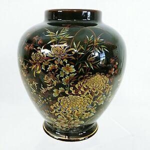 """Ginger Jar Vase Imperial Kiku Black Gold Gilted Florals Hand Painted 6"""""""
