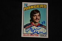 GILLES GRATTON 1976-77 TOPPS SIGNED AUTOGRAPHED CARD #28 NEW YORK RANGERS