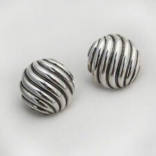 David Yurman Round Sculpted Cable Earrings Sterling Silver