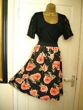 24 SIMPLY BE 2 IN 1 SKATER DRESS BLACK / ORANGE POPPY LACE SLEEVE STRETCH COMFY