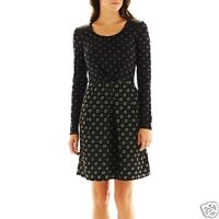 I Heart Ronson Woven Combo Tie-Print A-Line Skater Dress Size M, L New $50