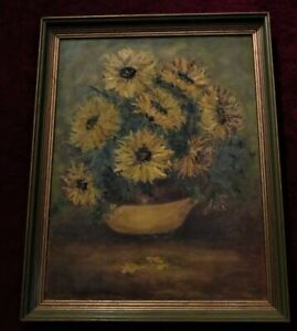 Mid-Century Modern Painting PRINT BIG BOLD SUNFLOWERS Abstract TEXTURED LARGE