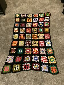 """Vintage Hand Crocheted 62"""" x 38"""" Granny Square Afghan Throw"""