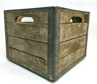 Vintage J.D Roszell Co Wooden & Metal Milk Crate Peoria, ILL Industrial Box Rare