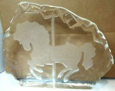 Vintage Glass 3D Etched Frosted Carousel Horse Paperweight Collectable Clear