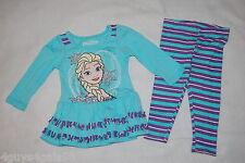 Baby Girls DISNEY FROZEN ELSA Turquoise L/S Shirt STRIPED LEGGINGS Purple 12 MO