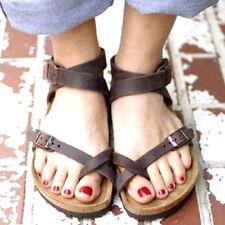 Sandales en cuir post Toe d'été Chaussures compensées tongs plates pour femme 39