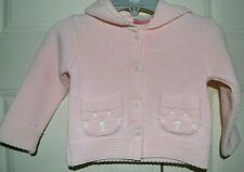 DIZZY DAISY Pale Pink Knitted Hooded CARDIGAN/JACKET Age 6-12 Months - NEW
