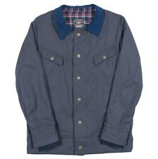 iNi Cooperative CORD BOY Mens Snap Front Jacket Charcoal Blue Large NEW