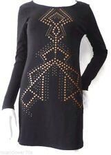 BETTINA LIANO  Size 8 US 4  Black Long Sleeve Embellished Shift Dress