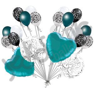 20 pc Teal Heart & Swirl Balloon Bouquet Wedding Bridal Shower Anniversary Love
