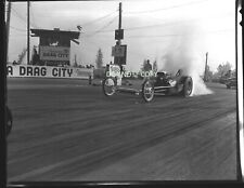 N273 1960'S NEGATIVE...DRAG RACING NHRA,BURNOUT DRAGSTER SPEEDING IN FONTANA