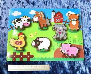 NEW wooden toy,puzzle,Chunky Wood game,toddler,Jigsaw,farm pieces animals,kids