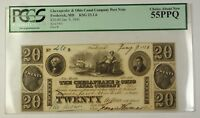 1840 $20 Chesapeake & Ohio Canal Co. Frederick MD Obsolete Post Note PCGS 55 PPQ