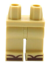LEGO NEW TAN MINIFIGURE LEGS FEET WITH REDDISH BROWN SANDALS SHOES PIECE