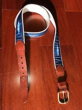 Marlin Fishing Leather Man Ltd Canvas Belt Blue Hand Made Mens Size 38