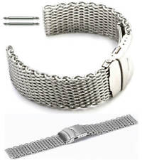 Stainless Steel Shark Mesh Bracelet Watch Band Strap Double Locking Clasp #5030