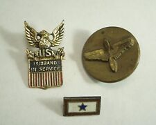 Vintage set of Military Pins- Service Blue Star, Husband in Service &  Air Force