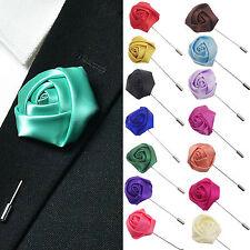 Fad Lapel Silk Rose Flower Handmade Boutonniere Stick Brooch Pin Men Accessory