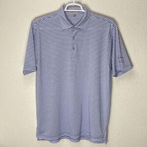 Peter Millar Summer Comfort Brook Hollow Golf Club Polo Shirt Stripe Size Large