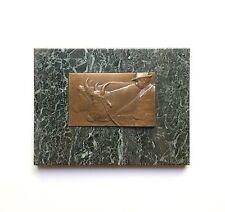 Bronze Relief Plaque, Farmer & Ox by Julian Lengsfeld, 1910 Austria Jugendstil