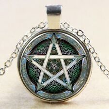 Glass Cabochon PENTACLE PENTAGRAM WICCA SPIRITUAL Pendant Necklace UK Seller