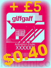 UK PAYG GIFFGAFF Dual SIM (Standard + Micro) + Free Postage + £5